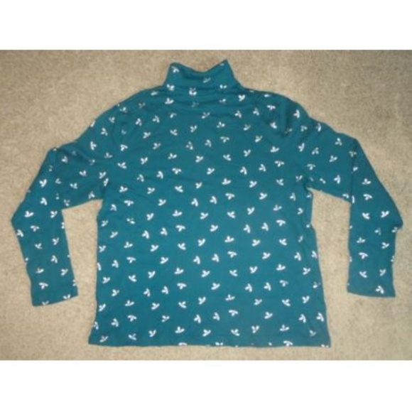 ea1ef32abe0c3 White Stag Teal Holly Turtleneck Holiday